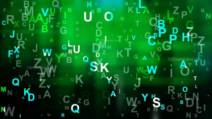 Cool Green Scattered Alphabet Letters Background Vector Image