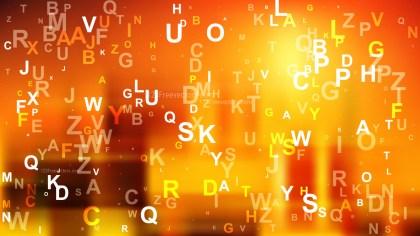 Dark Orange Scattered Alphabet Letters Background Image