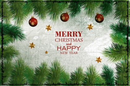 Merry Christmas and Happy New Year Image with Fir branches
