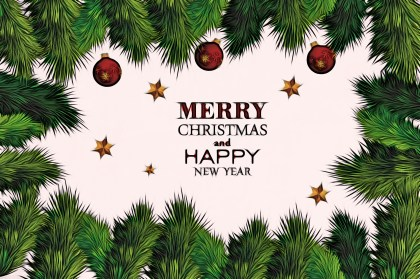 Merry Christmas and Happy New Year Background with Fir branches