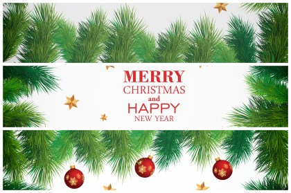 Merry Christmas and Happy New Year Card with Fir Branches