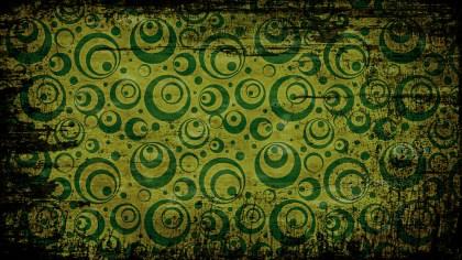Black Green and Yellow Grunge Seamless Geometric Circle Pattern Background
