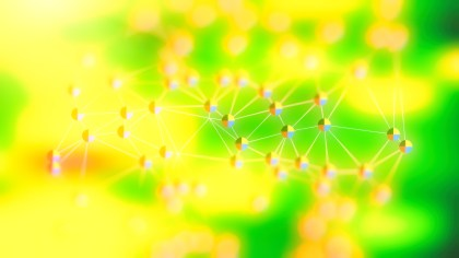 Connecting Dots and Lines Green and Yellow Blurred Background Image
