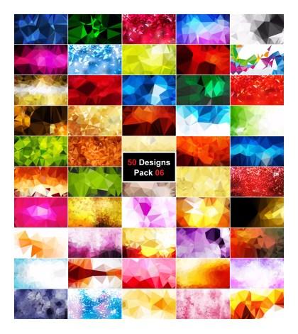 50 Abstract Polygonal Background Vector Pack 06