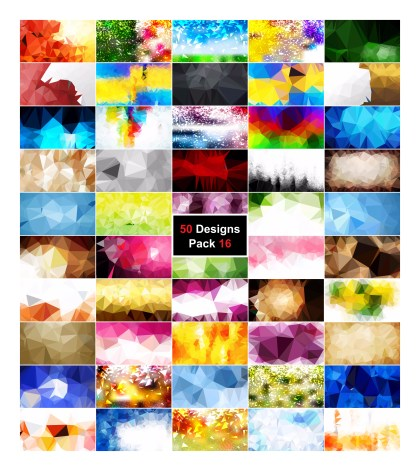 50 Abstract Multicolored Polygon Background Vector Pack 16