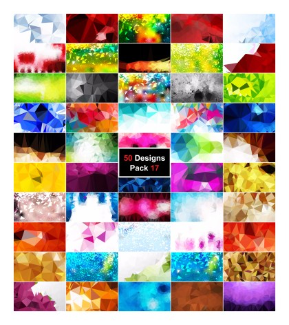 50 Abstract Multicolored Low Poly Background Vector Pack 17