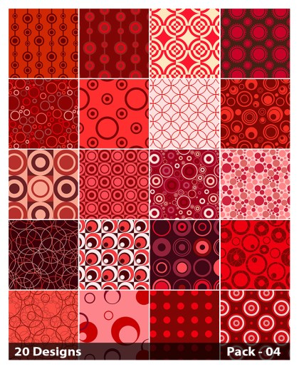 20 Red Circle Background Pattern Vector Pack 04