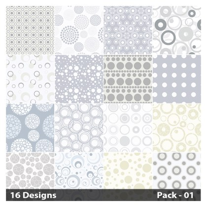 16 White Seamless Circle Pattern Vector Pack 01