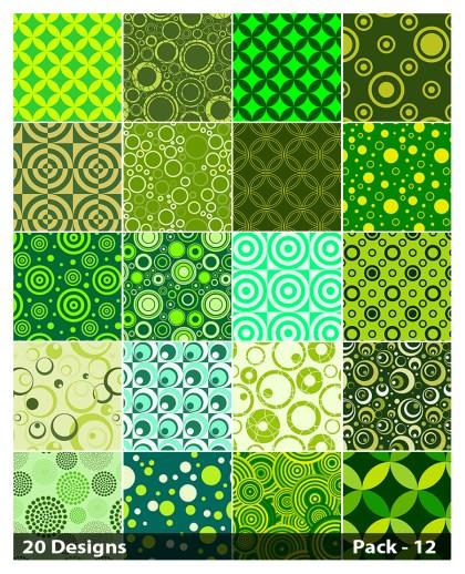 20 Green Geometric Circle Pattern Vector Pack 12