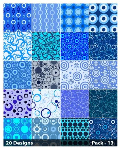 20 Blue Geometric Circle Pattern Vector Pack 13