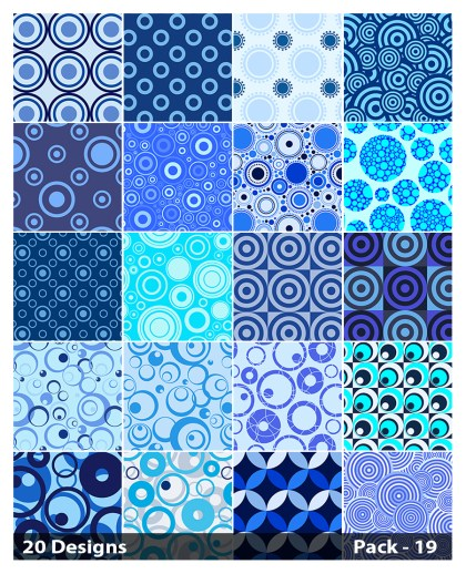 20 Blue Circle Pattern Vector Pack 19