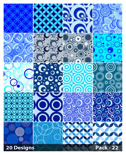 20 Blue Circle Background Pattern Vector Pack 22