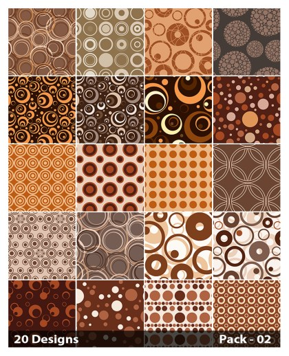 20 Brown Circle Pattern Vector Pack 02
