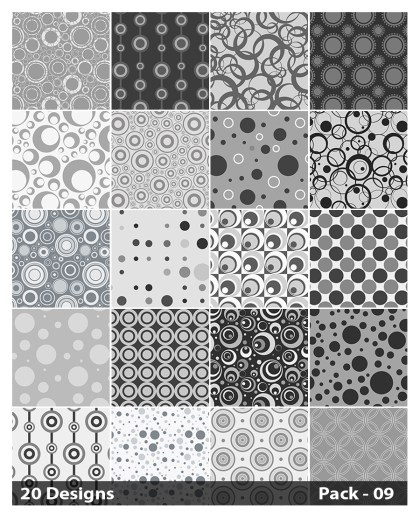 20 Grey Circle Background Pattern Vector Pack 09