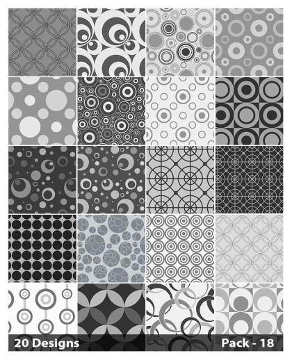 20 Grey Circle Pattern Vector Pack 18