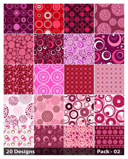 20 Pink Circle Pattern Vector Pack 02