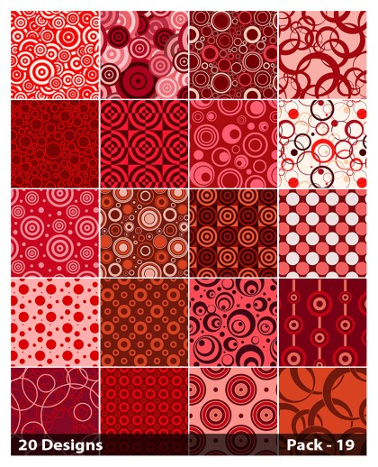 20 Red Circle Pattern Vector Pack 19