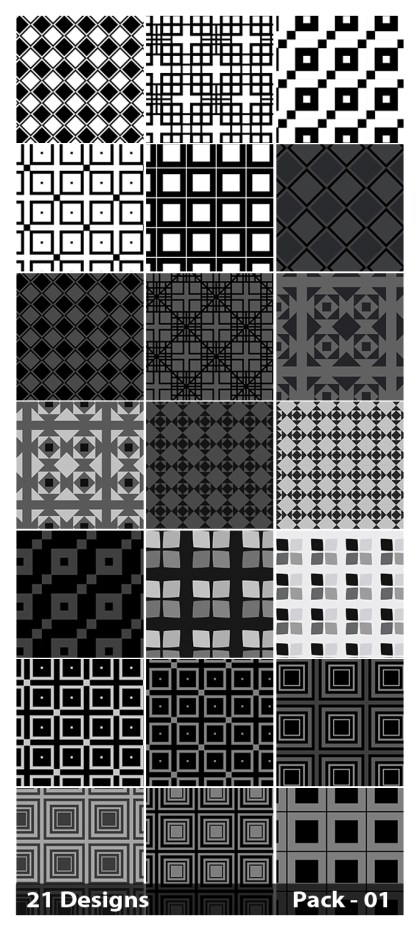 21 Black Seamless Square Pattern Vector Pack 01