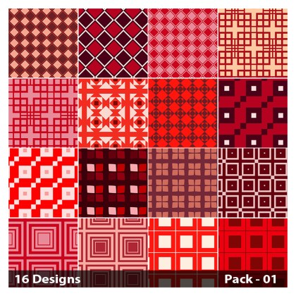 16 Red Square Pattern Vector Pack 01
