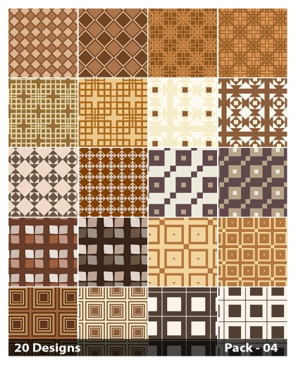 20 Brown Square Pattern Background Vector Pack 04