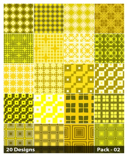 20 Yellow Square Pattern Vector Pack 02