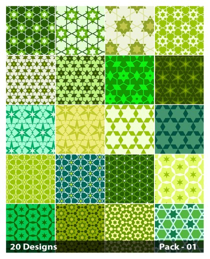 20 Green Star Pattern Vector Pack 01