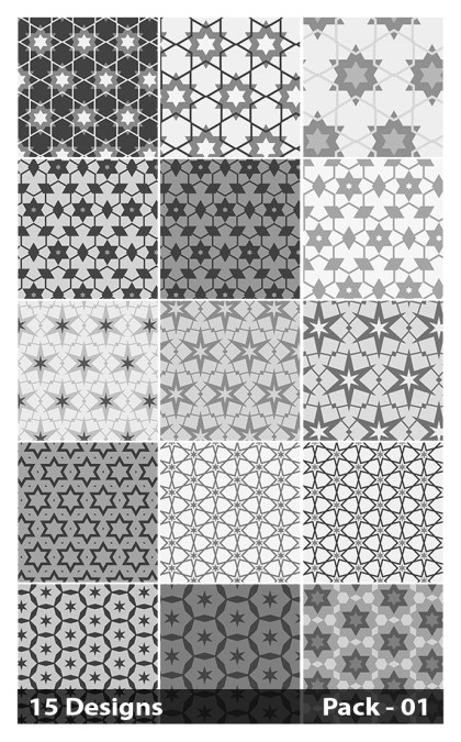 15 Grey Star Pattern Vector Pack 01