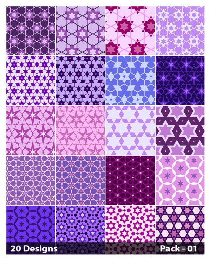 20 Purple Star Pattern Vector Pack 01