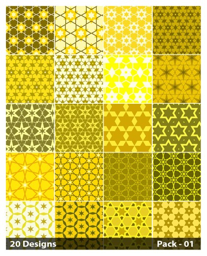 20 Yellow Star Pattern Vector Pack 01