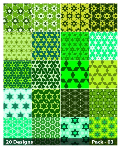 20 Green Star Pattern Background Vector Pack 03
