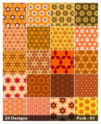 20 Orange Star Pattern Background Vector Pack 03