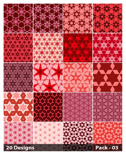 20 Red Star Pattern Background Vector Pack 03