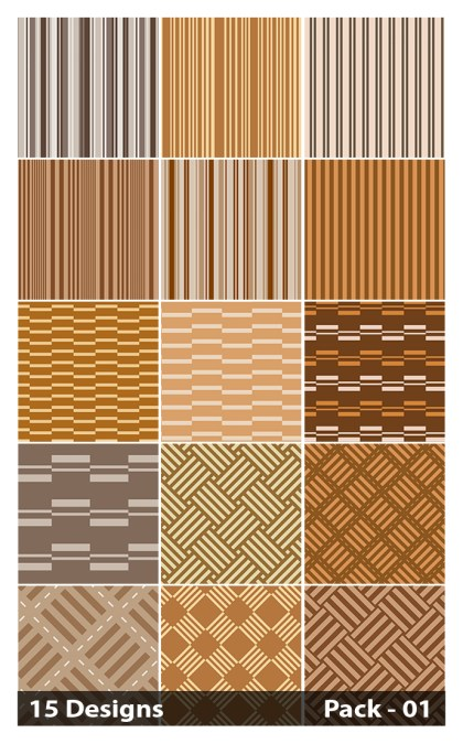 15 Brown Seamless Stripes Pattern Vector Pack 01