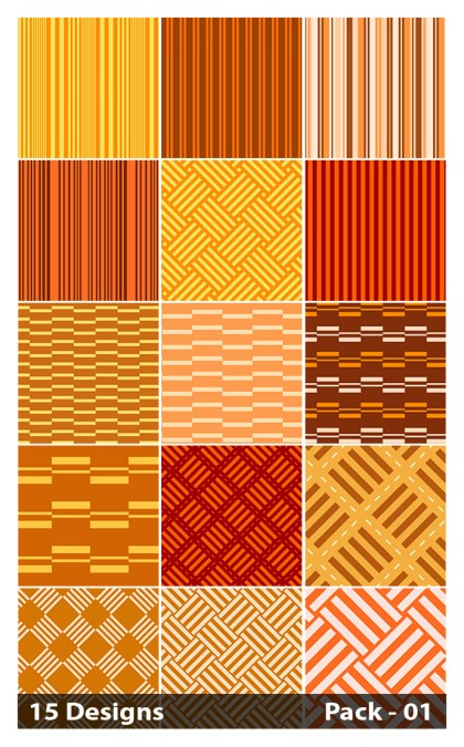 15 Orange Seamless Stripes Pattern Vector Pack 01