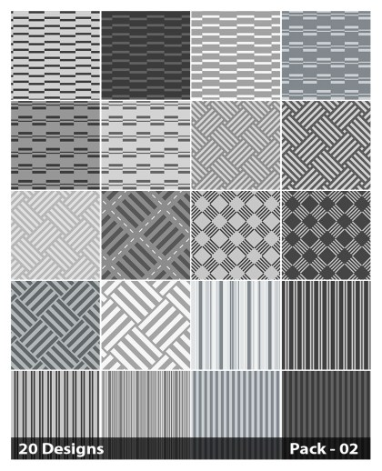 20 Grey Stripes Pattern Vector Pack 02