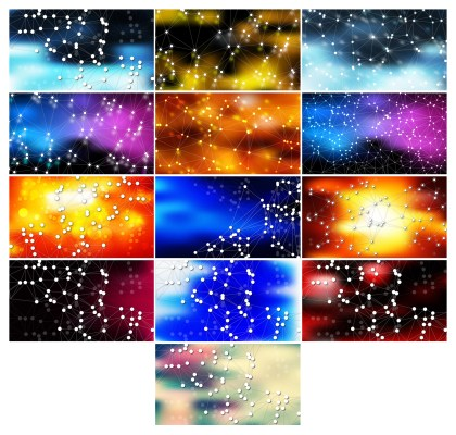 13 Abstract Connected Lines and Dots Background Vector Pack 01