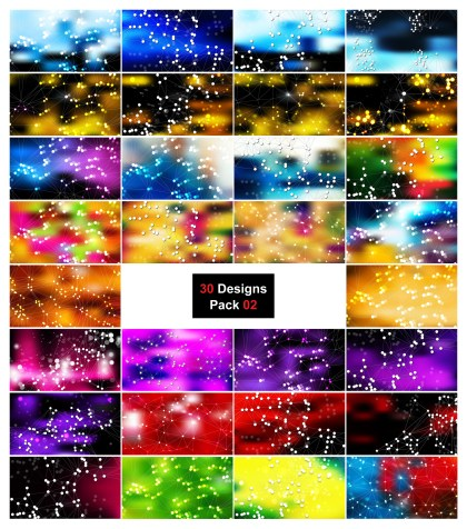 30 Abstract Connected Lines and Dots Background Vector Pack 02