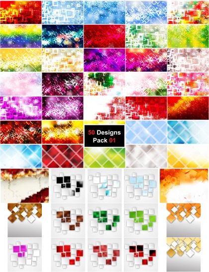 50 Modern Square Background Vector Pack 01