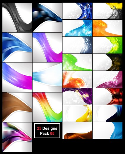 25 Abstract Wave Business Background Vector Pack 05