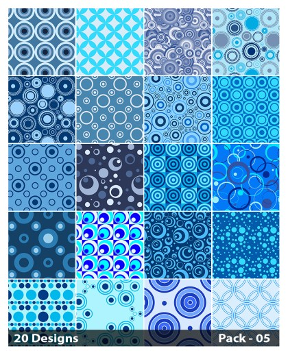 20 Blue Seamless Circle Pattern Background Vector Pack 05
