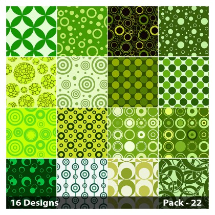 16 Green Seamless Circle Pattern Background Vector Pack 22