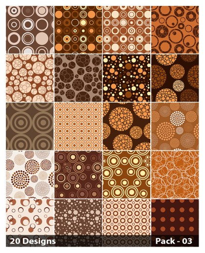 20 Brown Circle Pattern Background Vector Pack 03