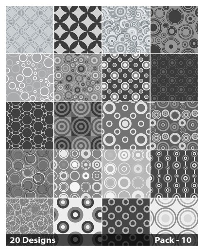 20 Grey Seamless Circle Pattern Background Vector Pack 10