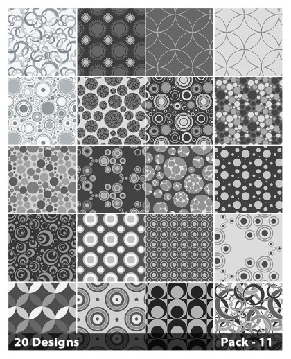 20 Grey Seamless Circle Background Pattern Vector Pack 11