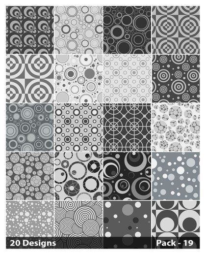 20 Grey Seamless Circle Pattern Vector Pack 19