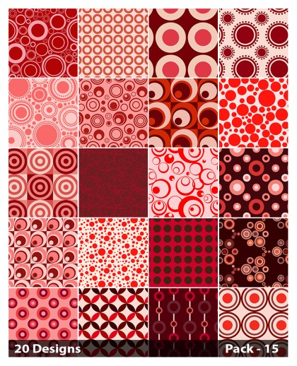 20 Red Geometric Circle Background Pattern Vector Pack 15