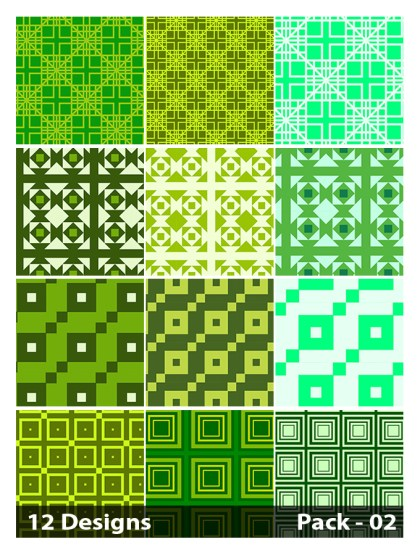 12 Green Seamless Square Pattern Vector Pack 02