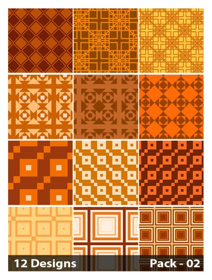 12 Orange Seamless Square Pattern Vector Pack 02