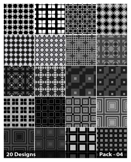 20 Black Square Background Pattern Vector Pack 04