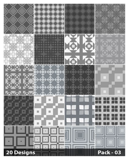 20 Grey Square Pattern Background Vector Pack 03